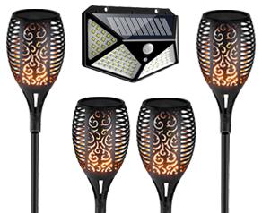 3 Solar Flame Lamp and 100Led Solar Light